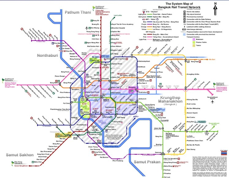 Map of the monorails in Bangkok