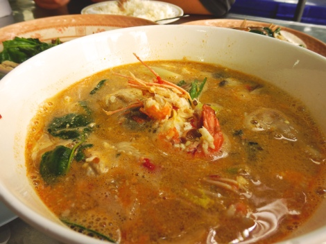 Tom yum at a roadside restaurant