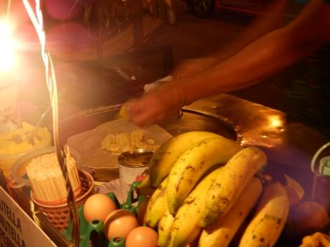 Banana pancake for dessert. Its essentially bananas with sugar inside a thin roti pancake