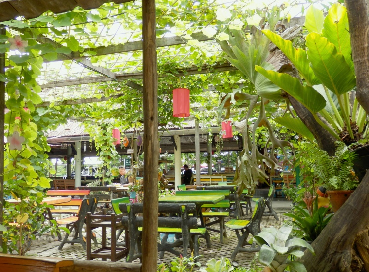 Cool little garden restaurant by the train station