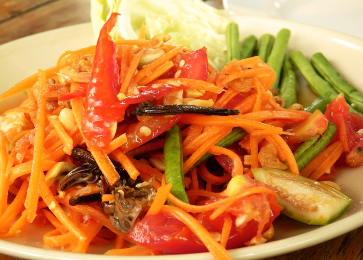 Papaya salad with a twist! This one had a whole mini crab in it. A little too weird for me...