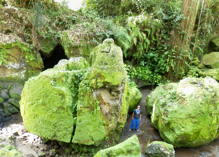 Giant moss covered boulders at Goa Gajah