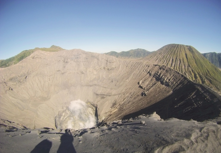 View of the smoking caldera