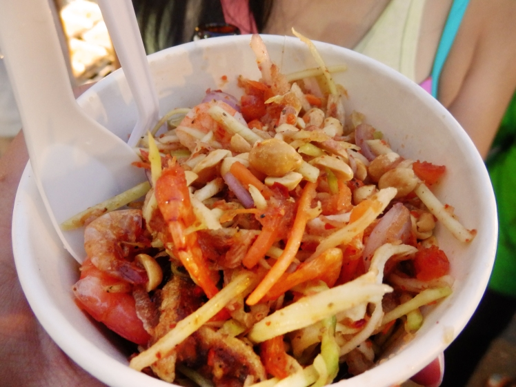 Papaya salad at the local nightmarket in Kabi. SO GOOD