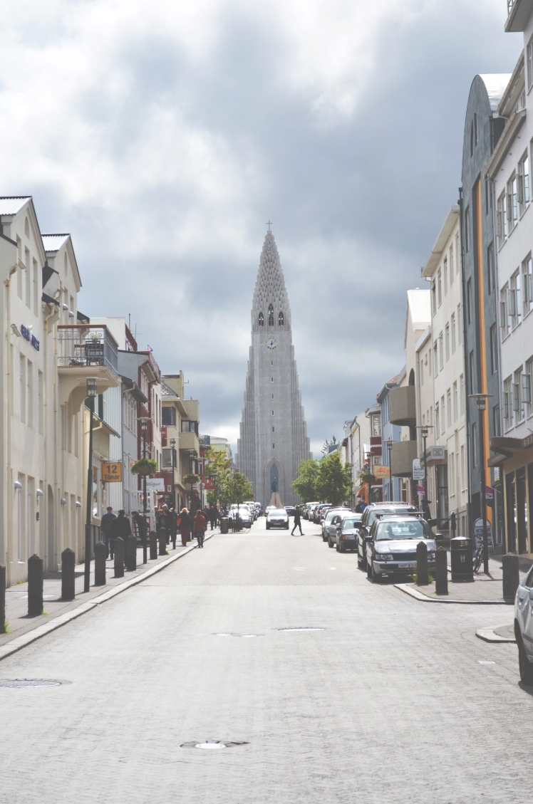 One of the shopping streets downtown with a clear view of Hallgrimskirkja, the behemoth church.