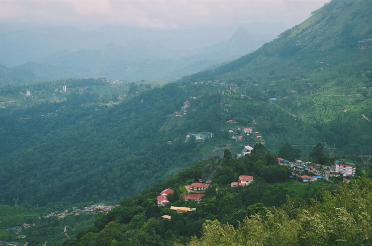 View of a nearby village from the top of the mountain