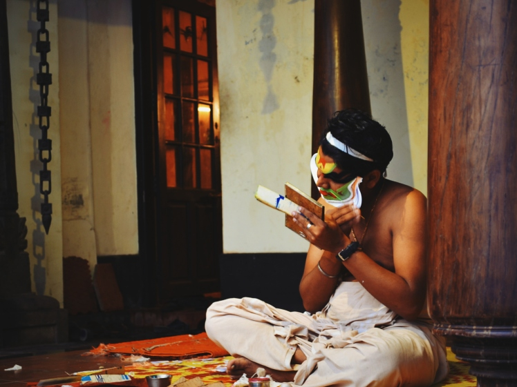 Kathakali is a traditional dance form of Kerala. Putting on the makeup and costume literally takes over an hour. The actors master about a million facial expressions