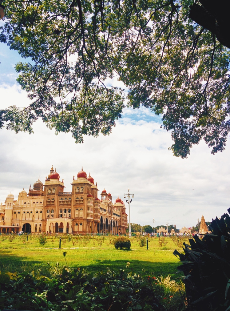 Mysore palace from the garden