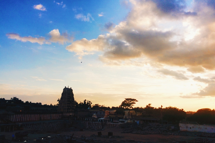 Virupaksha temple at sunset. This was the view from our rooftop patio at Gopi guesthouse